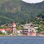 View from our dive site to Soufriere
