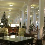 The main lobby decorated for Christmas