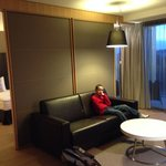 Huge suite with a comfy bed and an awesome bathroom.  The mini bar was excellent and was restock