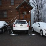 parking at the cabin