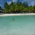enjoyng a dip in the lagoon at front of Samade