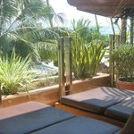 Sunloungers right in our private balcony