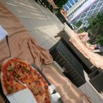 pizza from the Italian restaurant at the poolside
