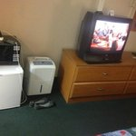It is nice to have a minifridge and microwave, tv a little outdated but works fine