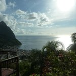 View of Soufriere from infinity pool