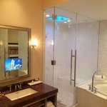 Bathroom with awesome shower, huge tub and a TV in the mirror