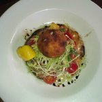 Starter fish cake size of tennis ball and salad + dressing