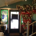 entry of the restaurant with an upside down christmas tree - or is this the way to do it?