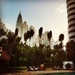 View from the pool area - see top of the Petronas Tower and the Menara tower