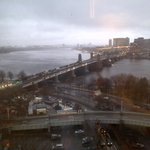 view of the Charles River on a rainy day