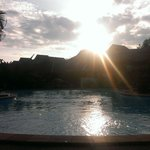 Beautiful sunset at the swimmingpool