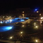 The view of the pools at night