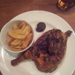 'Half Chicken with Piri-Piri Sauce' supposedly served with sea salted chips, fried mushroom(s) a