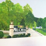 Beautiful hand painted mural at Mill Creek Hotel