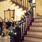 The main stairwell decorated for the holidays
