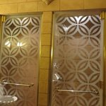 toilet and shower seperated by beautiful glass doors.