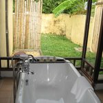 tub and outdoor shower