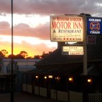 Sunset over the motel and restaurant