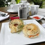 Breakfast bagel with smoked salmon and cream cheese