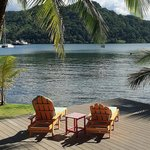 deck chairs at sunset overlooking Portobelo Bay