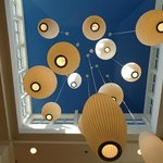 Funky/retro ceiling lamps in lobby