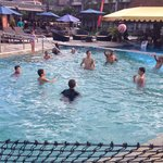 Volleyball afternoons near H2O restaurant with swim in bar nearby