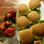 Breakfast - Mini smoked chicken ham and cheese sandwiches and strawberries, all from Raley's
