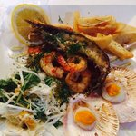 BBQ seafood platter- scallops, moreton bay bugs, salmon,prawns, salad and homemade chips. Yum yu