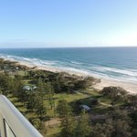 A view of the beach from the 14th floor of the The Air on Broadbeach