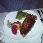 Tender strip loin with basmati rice patty and homemade cranberry chutney!