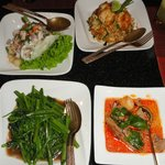 Variety of thai food at the Thai restaurant.