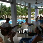 Singing at the pool bar