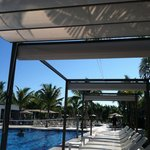 Great new awnings by the pools.