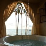 soaking tub on balcony