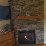 Fireplace and large flat screen tv