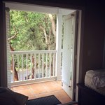 The doors leading to the balcony from our upstairs room in the villa