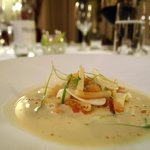 Langoustine Ravioli. turnip, white chocolate