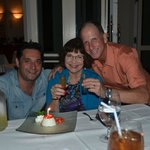 An amazing birthday dinner! Marco (owner), Joan and David!