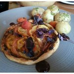 Heirloom tomato tart, tapenade, Jersey Royals