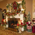 Their lobby fireplace decorated for Christmas
