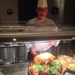 The Chef at the Jury's Inn carving our turkey.