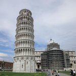 Pisa's leaning tower as seen from Piazza Miracoli
