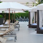 poolside loungers and cabanas