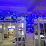 Christmas lights at reception area