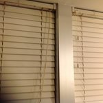 Outdated and rusty/dirty mini blinds in the bathroom