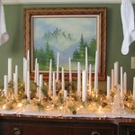 Original sideboard in dining room dressed for Christmas