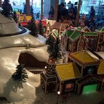 Cute Gingerbread House Town display near hotel lobby