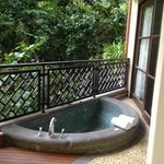 Spa tub on balcony