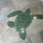 Mosaic turtle in the entrance walkway