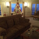 Christmas decor is awesome! So is this couch in front of the original fireplace!!!